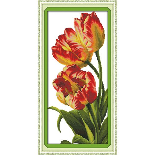 Everlasting love Tulip chinese Cross stitch kits Ecological cotton clear stamped printed 11CT 14CT DIY gift Christmas decoration