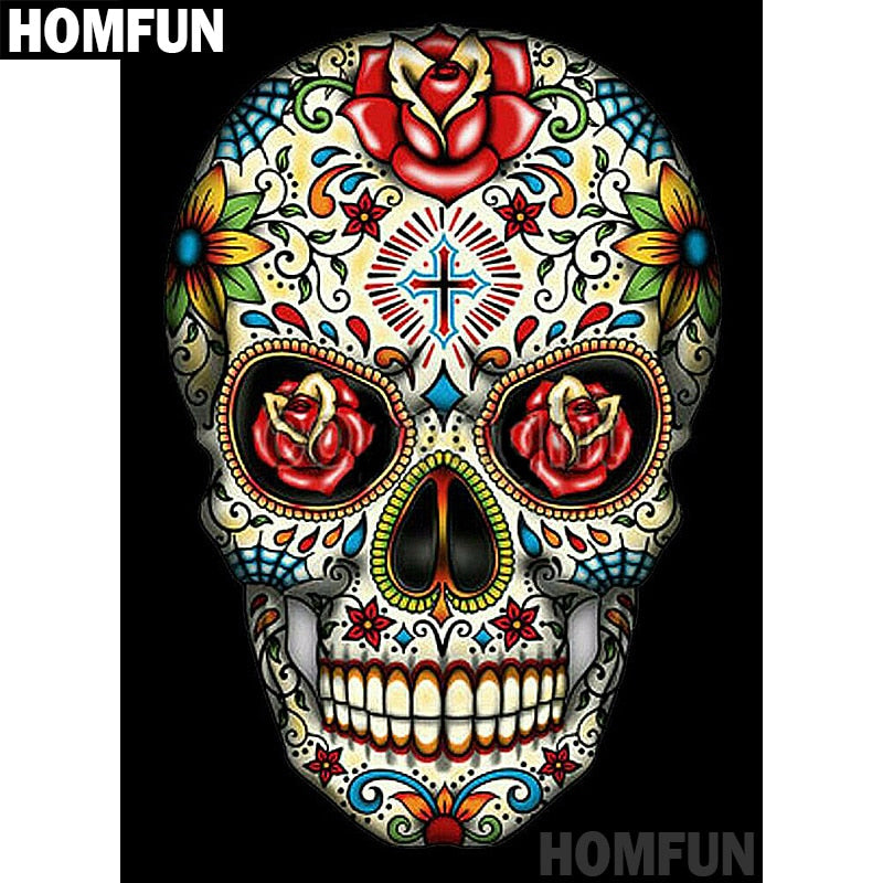 "Full Square/Round Drill 5D DIY Diamond Painting ""Colorful skull"" Embroidery Cross Stitch 5D Home Decor Gift A06885"
