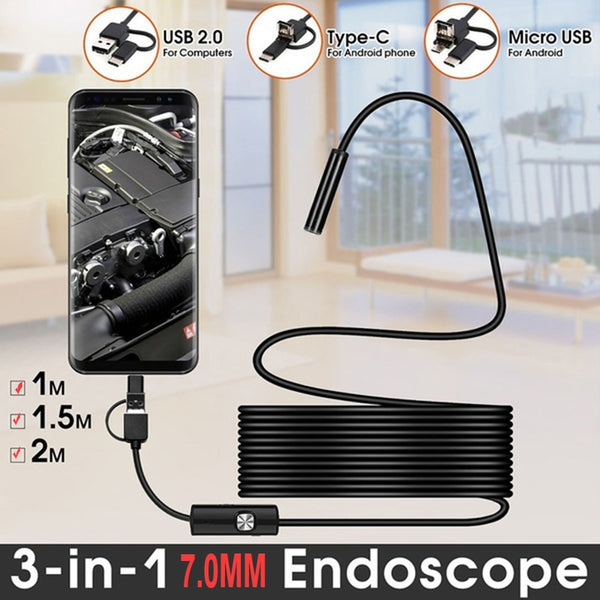 TYPE C USB Mini Endoscope Camera 7mm 2m 1m 1.5m Flexible Hard Cable Snake Borescope