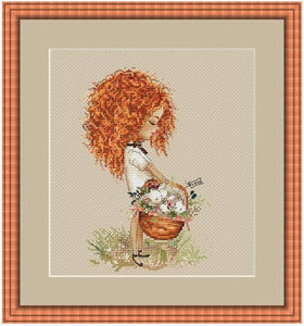 Curly girl with basket cross stitch kit Animal cotton thread  14ct linen flaxen canvas stitching embroidery DIY