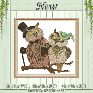 Owl couple cartoon animal home decor painting counted print on canvas DMC 14CT 11CT Cross Stitch