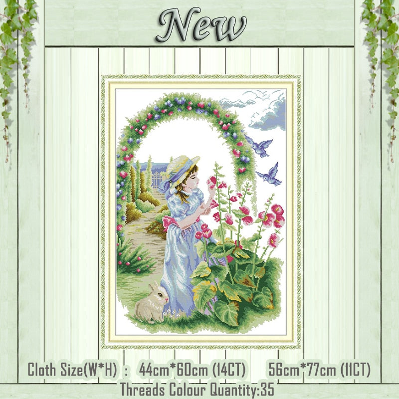 Enjoy flower garden girl home decor painting counted printed on canvas DMC 14CT 11CT Cross Stitch Needlework Sets Embroidery kit