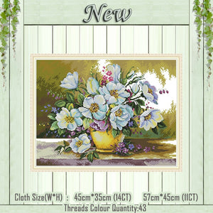 White flower vase beautiful decor paintings counted printed on canvas DMC 14CT 11CT Cross Stitch