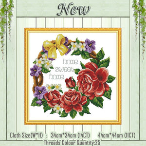 Sweet Home flower Ring home decor paintings counted printed on canvas DMC 14CT 11CT Cross Stitch