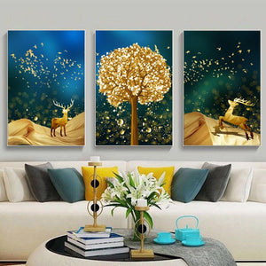 3pcs/set Needlework,DIY Cross stitch Full Embroidery kit,Lucky Golden Deer Wish Tree flower
