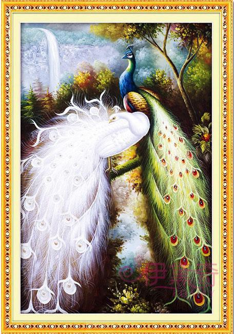 81*57cm Needlework,DIY Cross stitch,Full Embroidery kit set,Forest lover peacock