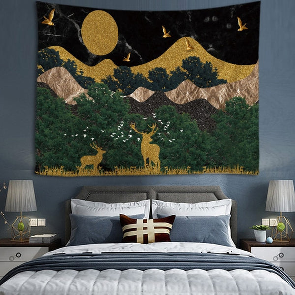 Sunset Mountain Tapestry Wall Hanging Tapestries Wall Art For Home Deco Living Room Bedroom Wall Art Large size Free Dropping