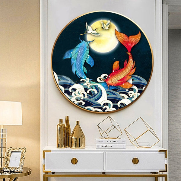 Koi playing in water Printed Patterns Cross stitch kits For Embroidery DIY DMC New Chinese Round Cross-Stitch Sets Home Decor