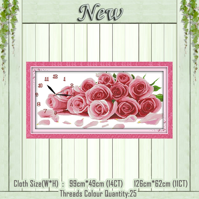 Romantic rose Clock dial painting counted print on the canvas DMC 11CT 14CT kits chinese Cross Stitch