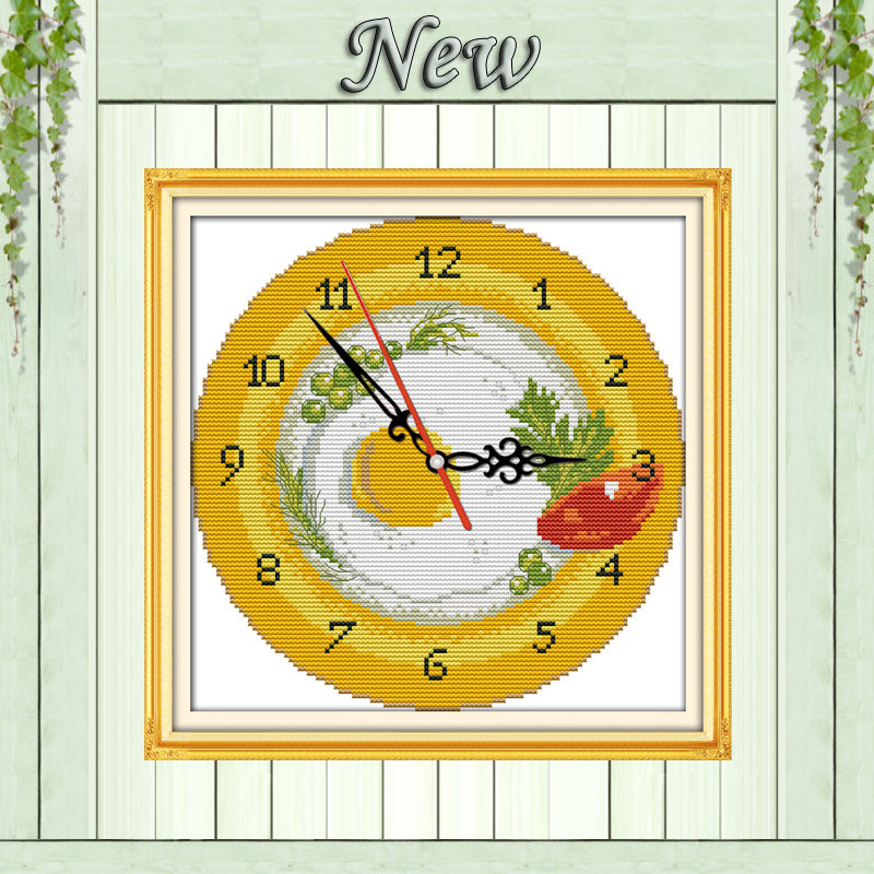 Fruit tray clock face decor paintings counted print on canvas DMC 14CT 11CT chinese Cross Stitch