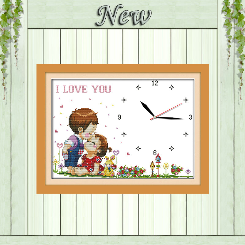 Love boy kiss girl clock diy painting counted print on canvas DMC 14CT 11CT Chinese Cross Stitch