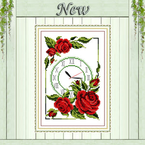 garland of roses clock decor painting counted print on canvas DMC 14CT 11CT Chinese Cross Stitch