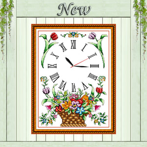 Flower basket clock decor paintings counted printed on canvas DMC 14CT 11CT Chinese Cross Stitch