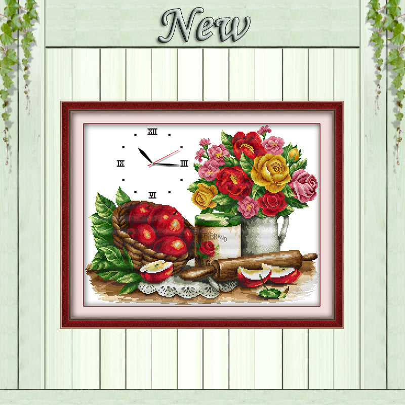 Flowers fruit clock decor painting counted printed on canvas DMC 14CT 11CT Chinese Cross Stitch