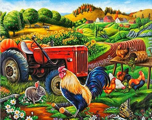 "Diamond Painting Cross Stitch ""Tractor car scenery"" Full Square Round Diy 5d Diamond Embroidery Picture Rhinestone Art"