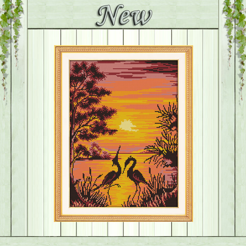 The crane shadow in sunset Painting 11CT Counted print on Canvas DMC 14CT chinese Cross Stitch