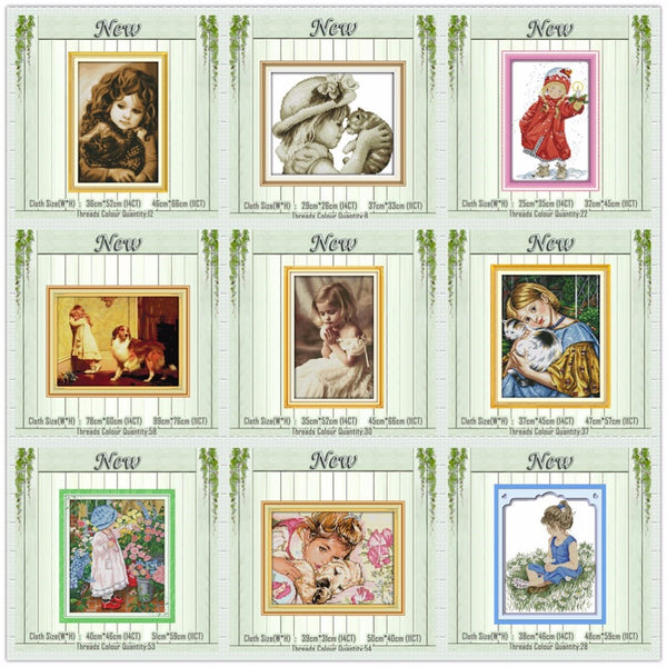 little girl cat dog lovely angel painting counted print on the canvas DMC 11CT 14CT kits Cross Stitch