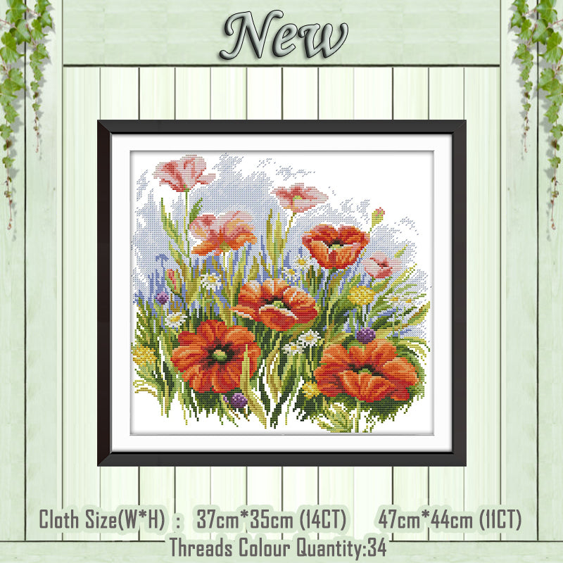 Flower poppy scenery decor painting counted printed on canvas DMC 14CT 11CT Chinese Cross Stitch