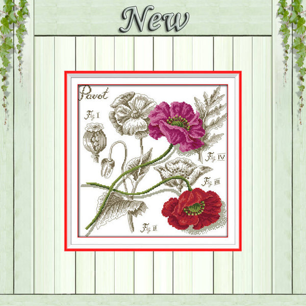 Hydrangea Shadows of flowers rose Poppy Cherry Counted Print on canvas DMC 11CT 14CT Cross Stitch kits