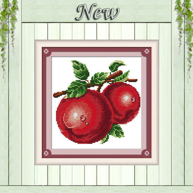 Water drop oranges apples grape fruit painting counted print on canvas DMC 11CT 14CT Cross Stitch kits
