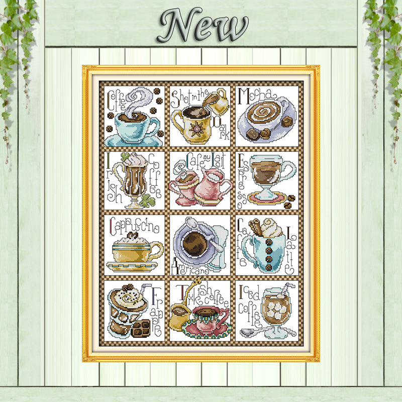 12 months of coffee,11CT Pattern Counted on the Canvas DMC 14CT Cross Stitch Embroidery kit,DIY