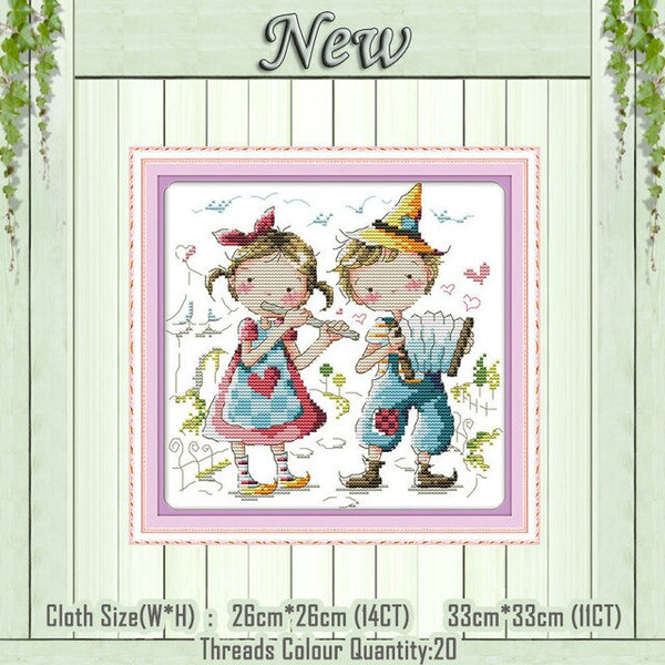 Romance partners lovers cartoon decor painting counted print on canvas DMC 14CT 11CT Cross Stitch