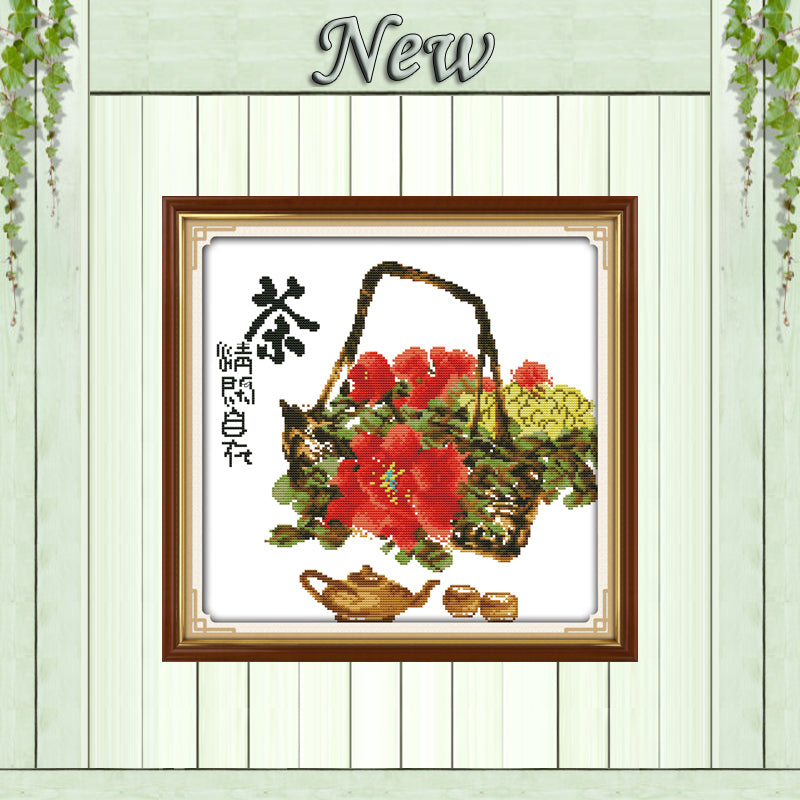 Tea flower basket home decor painting counted print on canvas DMC 14CT 11CT Chinese Cross Stitch