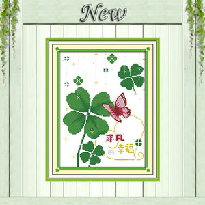 Ordinary happiness Clover decor diy painting counted print on canvas DMC 11CT 14CT kits  Cross Stitch