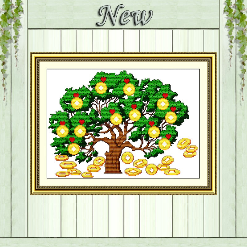 Chinese mascot love Money tree decor patterns Counted Print on canvas DMC 11CT 14CT Cross Stitch