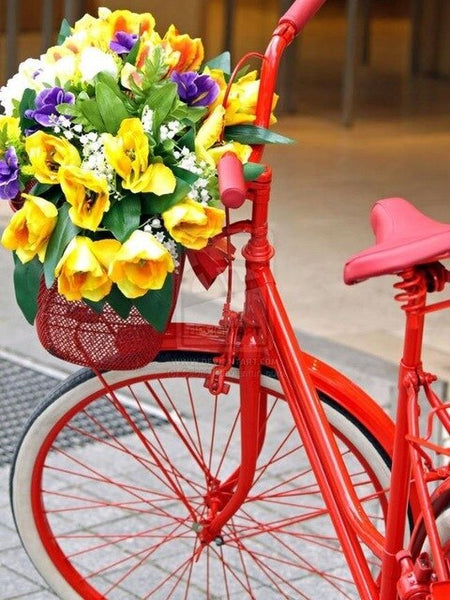 "Full Drill ""Flower bicycle scenery"" DIY Picture Of Rhinestone 5D Diamond Embroidery Cross Stitch Decor"