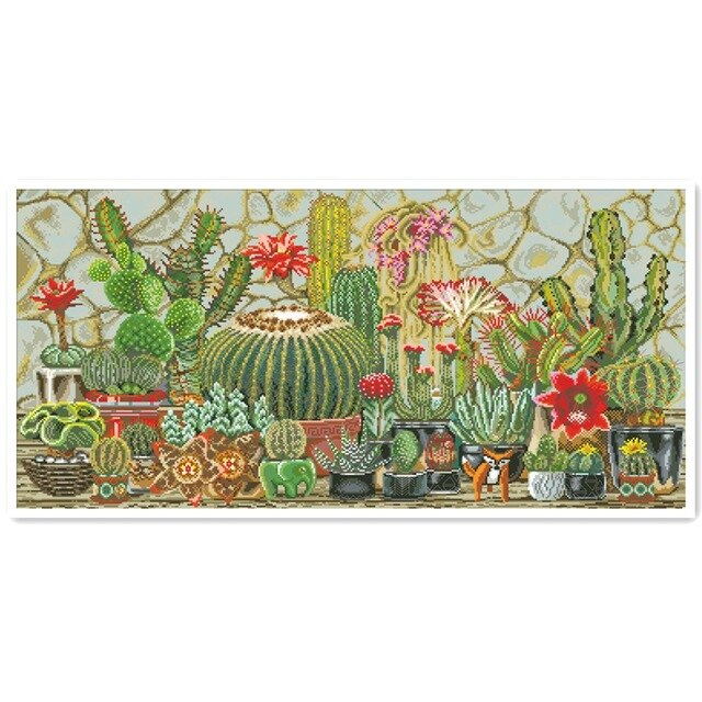 Cactus garden cross stitch plant flowers 18ct 14ct 11ct white fabric cotton thread embroidery DIY handmade needlework