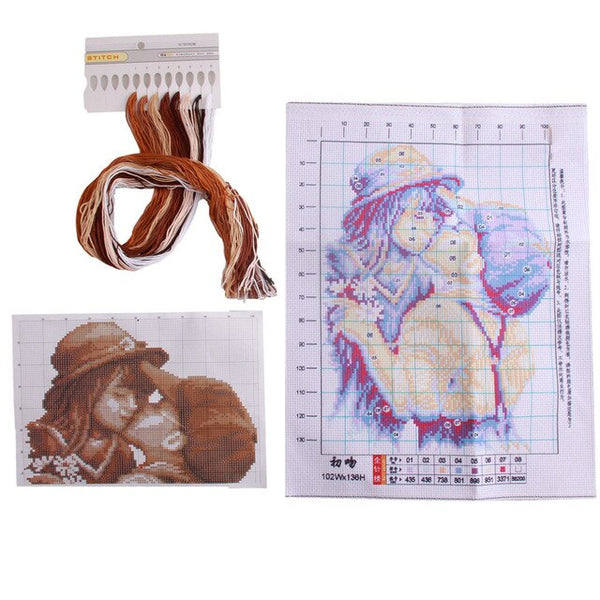 DIY Needlework Cross Stitch Kits Embroidery Needlework Sets First Romantic Kiss Pattern Counted Bead Cross-Stitching