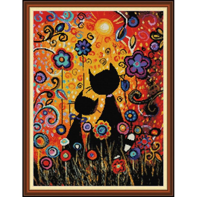 Colorful Gouache Cat Counted Cross Stitch Kit 14ct 11ct Canvas Printing Embroidery Set DIY Needlework Home Decoration Painting