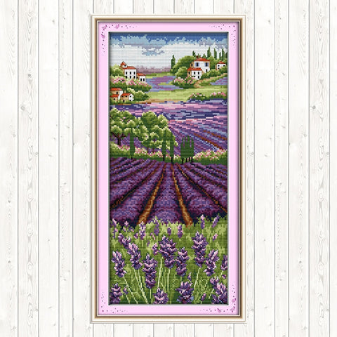 Lavender Champaign Embroidery Kits Needlework Embroidery Patterns 14ct 11ct Count Print Canvas DIY Crafts Cross Stitch Package