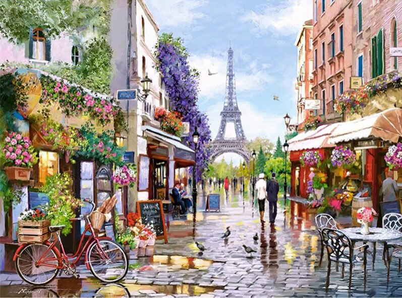 Paris flower market Handmade Needlework Set Embroidery kits DIY Cross Stitch Kits Crafts 14CT Unprinted Home Decor wall Arts
