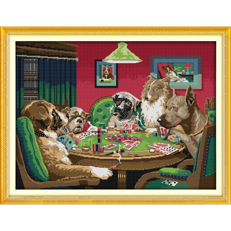 Dog's game painting cross stitch kit 14ct 11ct count printing canvas fabric DIY animal pattern embroidery set Home Decoration