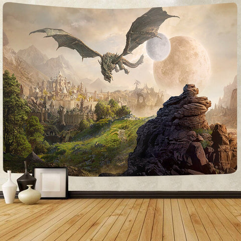 Simsant Psychedelic Castle Tapestry Dragon Cruise Ship Summer Sea Wall Hanging Tapestries for Living Room Beach Towel Blanket