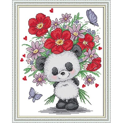 Treasure Panda Counted Cross Stitch Kits 11CT14CT Animal Printed Pattern Crafts Chinese Sewing Needlework Embroidery Accessories