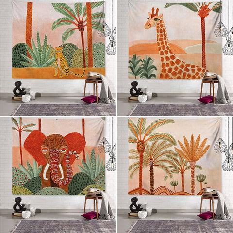 Tropical Wall Tapestry Animal Wall Tapestry Nordic Wall Hanging Decorative Chambre Fille Creative Picnic Blanket