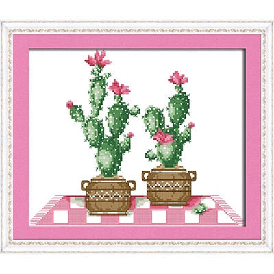 Cactus Series 11CT14CT Counted Cross Stitch Kits Printed Pattern Crafts DMC Fabric Canvas Sewing Needlework Embroidery Set Decor