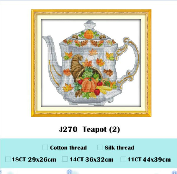 The scarecrow teapot cross stitch kit cartoon aida 18ct 14ct 11ct cloth counted printed canvas set stitches embroidery handmade