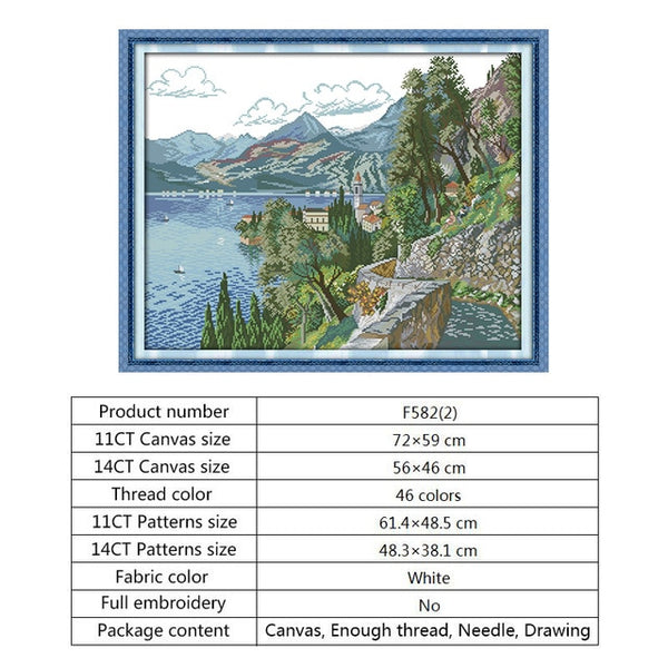 Christmas Cross Stitch Patterns Scenery Style DMC Cross Stitches Needlework Embroidery Kit 14CT 11CT Counted Print on Canvas DIY