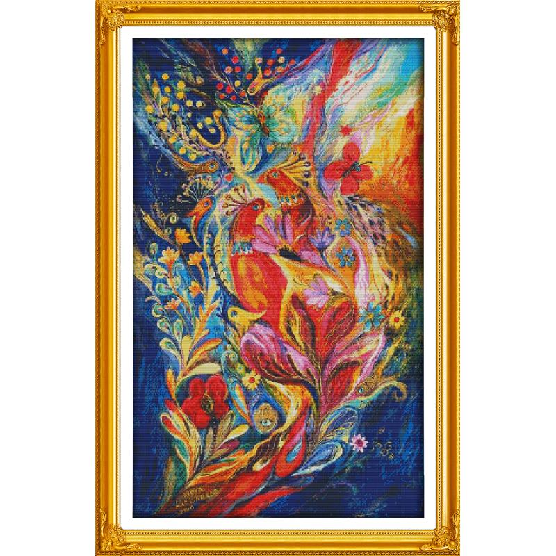 Beautiful Colorful Peacock Cross Stitch Kit Count 14CT 11CT Animal Pattern Embroidery Set DIY Hand Embroidery Needlework Crafts