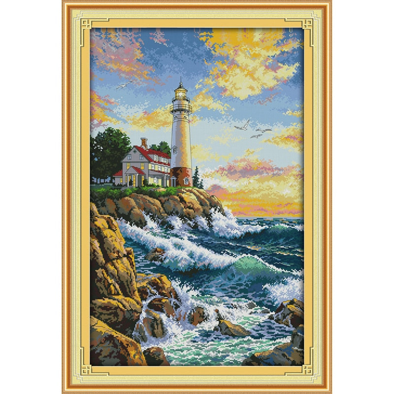 Everlasting love Christmas The lighthouse (2) Ecological cotton Cross Stitch 11CT and 14CT  Printed New store sales