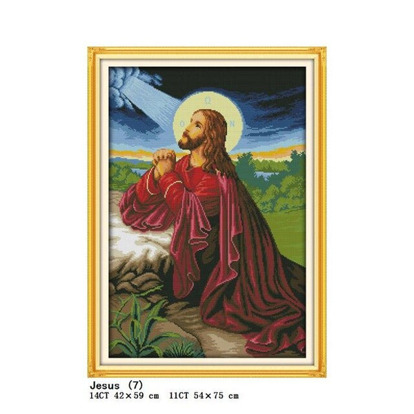 Jesus Sacred Heart Christ Religious Figure Painting Count Printing DIY Cross Stitch Kit DMC 11CT 14CT Embroidery Needlework Set