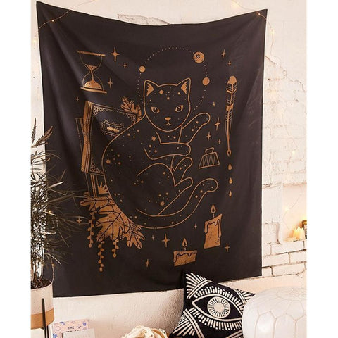 Hippie Hand Psychedelic Tapestry Wall Hanging Blanket Psychic Witchcraft Cat Tapestries Mandala Wall Carpet Dorm Headboard Decor