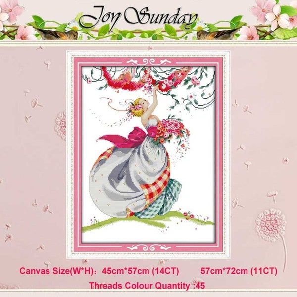 Bride Winter Angel girl RAVEN-QUEEN 11CT 14CT Cross Stitch Sets DIY Chinese Cross-stitch Kits Embroidery Needlework Home Decor