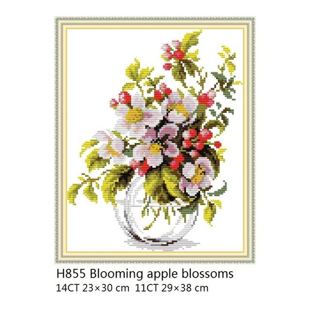 Blooming apple blossoms Chinese Cross Stitch Flowers,Sets for Embroidery Kits 11ct 14ct Printed Canvas DMC DIY Needlework Sets