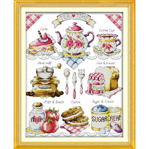 Everlasting love Christmas Tea time (2)  Ecological cotton Chinese cross stitch kits counted stamped 11 CT store sales promotion