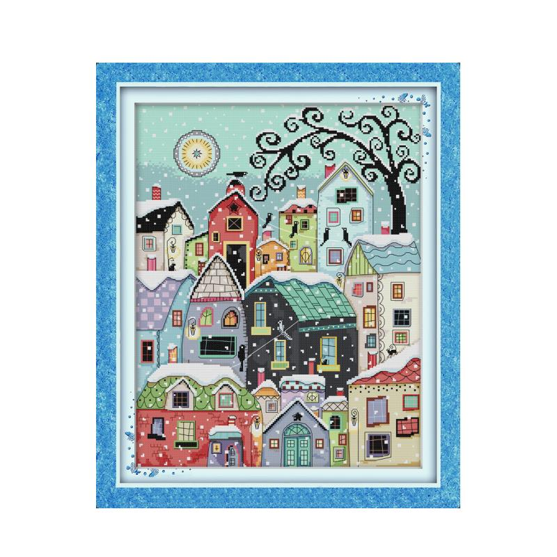 Snow street scenery cross stitch kit aida 14ct 11ct count printed canvas stitches embroidery DIY handmade needlework